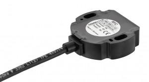 Bild 3: Magnetischer Winkelaufnehmer, bei dem Sensor und Positionsgeber als getrennte Komponenten konzipiert sind (RFC 4800). Der positionsgebende Magnet wird einfach an der drehenden Welle angebracht. (Foto: Novotechnik)