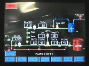 Über das NS10-Touchdisplay stellt der Schiffsführer den gewünschten Anteil der Wasserbeimischung ein. Bild: Omron