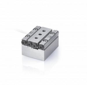 Bild 5: Der Mikrostelltisch mit Piezoschreitmotor arbeitet mit einem Stellweg von 30 mm und einer Höchstgeschwindigkeit von 10 mm/s. Die Positioniergenauikeit liegt bei 0,5 nm.
