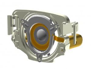 Bild 3: Der Piezoring ist direkt mit dem Metallring der Membran verklebt. Beim Anlegen der Wechselspannung schwingt das Piezoelement mit einer Frequenz von ca. 35 kHz. (Foto: Pari Pharma/PI)