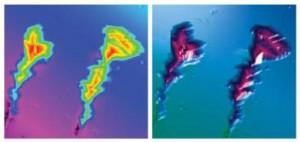 Bild 6: Nanoindentierung: Das Bild zeigt Kratzer in einer harten Nanokomposit-Schicht auf Silicium vor (links) und nach (rechts) der Nivellierung (Foto: Micro Materials)