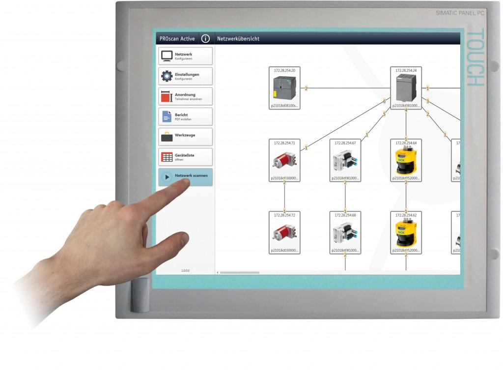Mit Fingerspitzengefühl zur Topologie. PROscan Active erstellt im laufenden Anlagenbetrieb einen Live-Topologieplan unabhängig vom Hersteller der eingesetzten Profinet- bzw. TCP/IP-Geräte. Bild: Indu-Sol