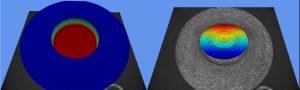 Auch tief liegende Flächen können erreicht und charakterisiert werden, zum Beispiel die Innenfläche eines Werkstücks (links: Gesamtmessergebnis; rechts: Detaildarstellung der tiefliegenden Fläche). Bild: Polytec