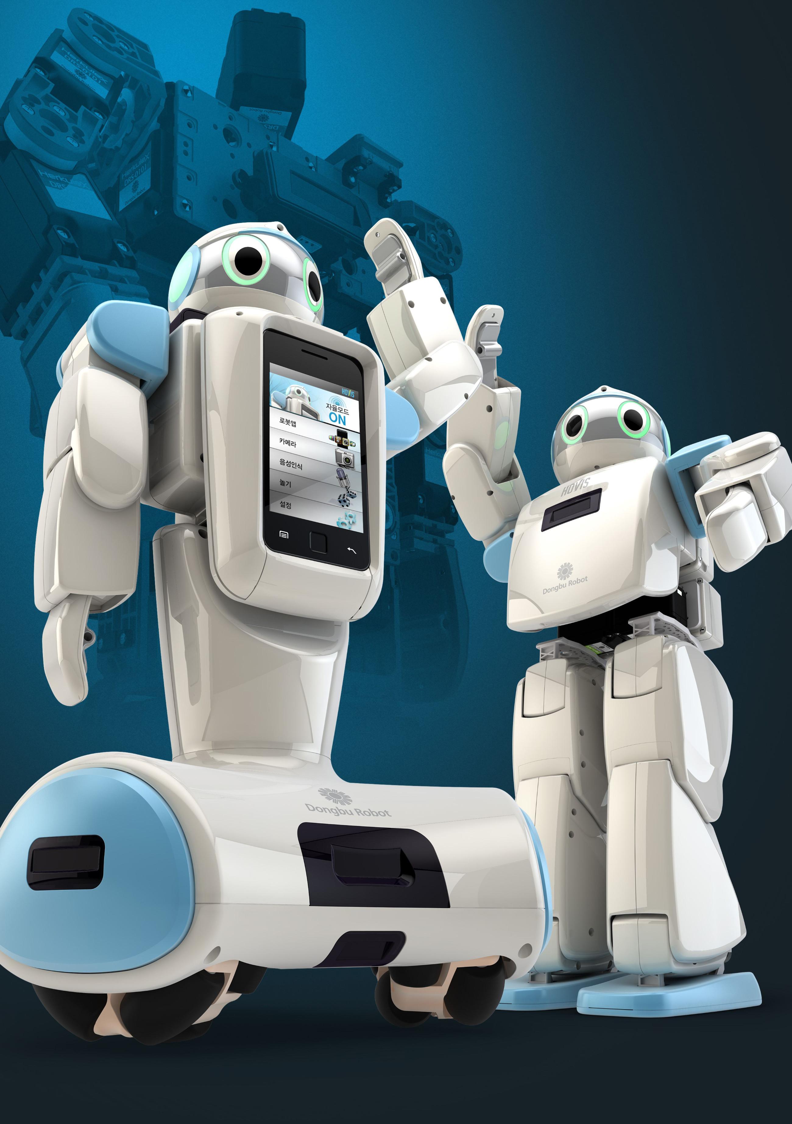 Schon in ihrer Grundbewegung haben humanoide Roboter gegenüber den sonst üblichen Ausführungen einen entscheidenden Nachteil: Das Gehen auf zwei Beinen ist ungleich komplexer als jedes noch so fein gesteuerte Fahren auf Rädern. Bild: Dongbu Robot