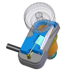 Ein piezoelektrisches Stellglied dreht eine Schraube und bewirkt so eine lineare Bewegung Bild: PI/Radiant Dyes