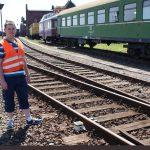 Michael Brandes, stellvertretender Vorsitzender, Eisenbahnfreunde Traditionsbahnbetriebswerk Staßfurt e.V. freut sich über das Gleisüberwachungssystem Bild: Eisenbahnfreunde Traditionsbahnbetriebswerk Staßfurt e.V.