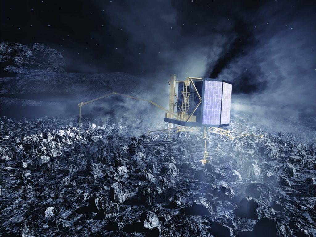 Die Landeeinheit Philae der Rosetta-Mission bei der Arbeit. Bild: MPE und FAULHABER