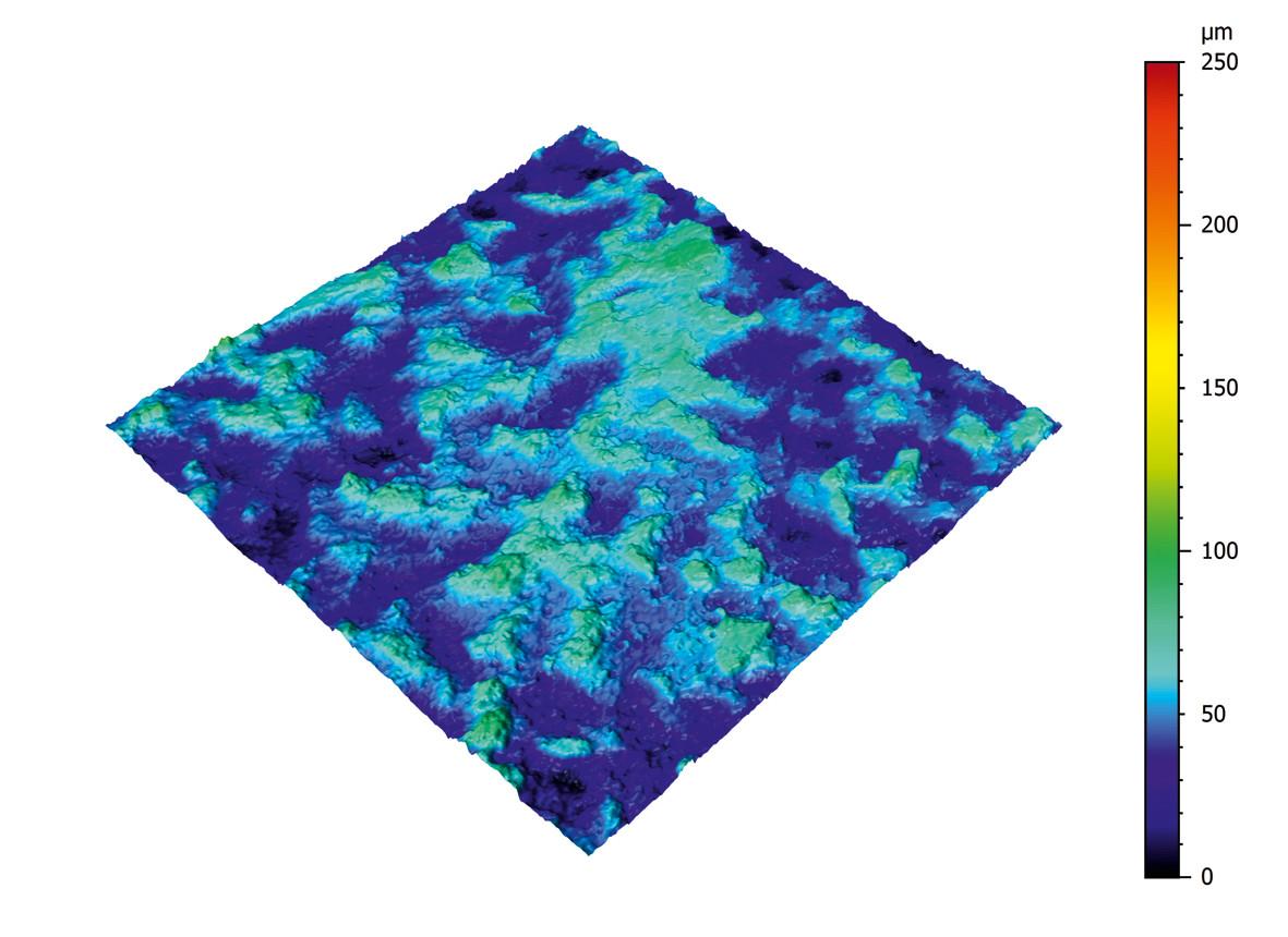 200 bis 400 Einzelbilder werden von Messsoftware in ein dreidimensionales Höhenbild umgewandelt. Bild: NanoFocus