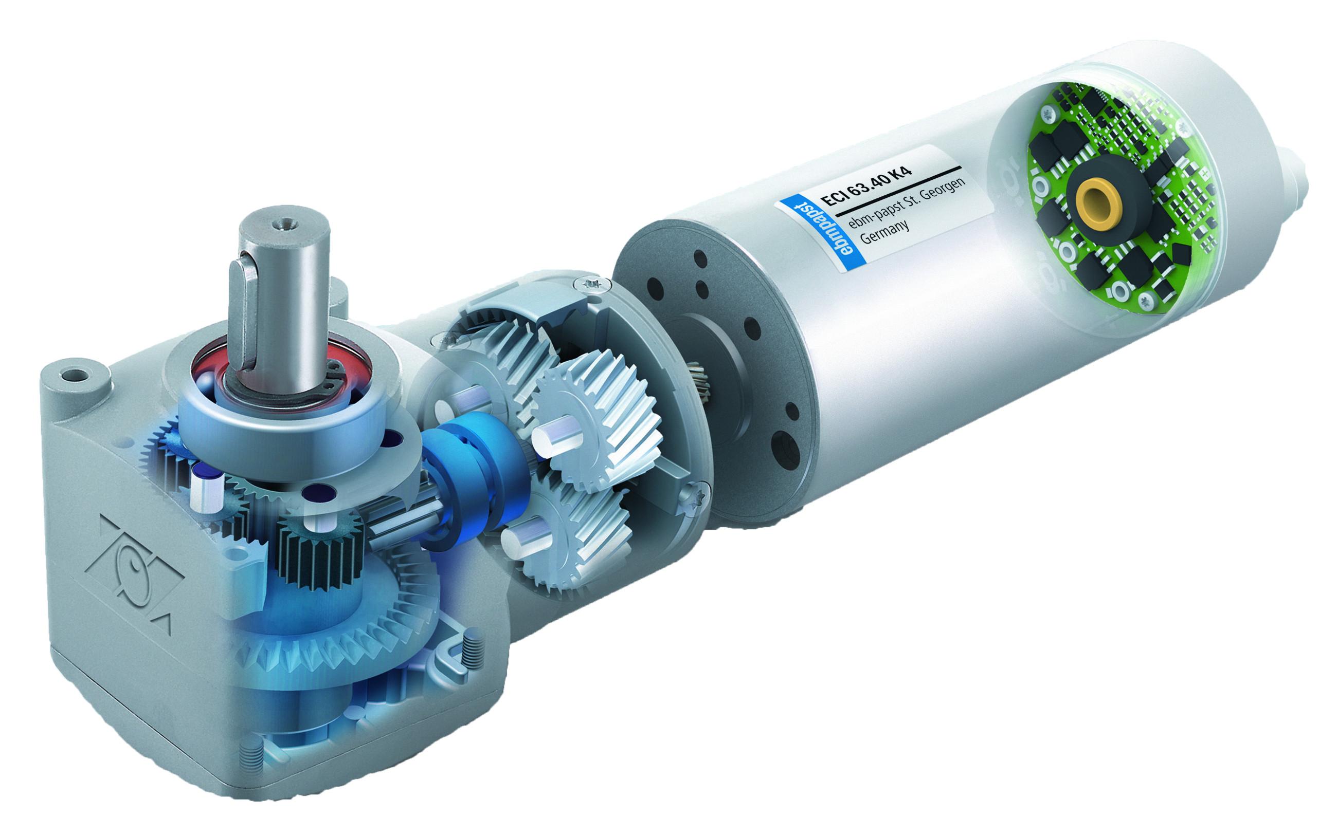 Schnittbild des Antriebs mit K4 Elektronikmodul und Winkelgetriebes EtaCrown® Bild: ebm-papst