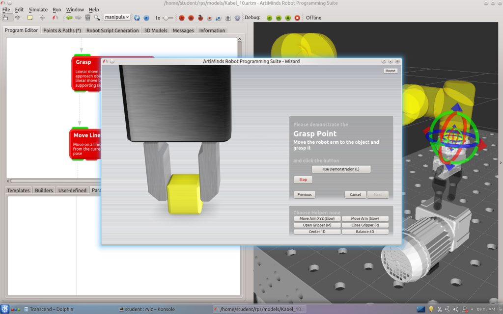 Per Drag&Drop stellt sich der Anwender das Programm aus vordefinierten Bausteinen zusammen. Bild: ArtiMinds Robotics