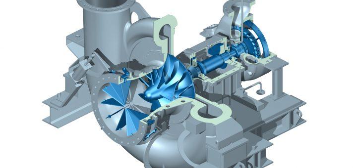 Das Turboverdichterpackage STC-STO ist eine integrierte Turboverdichter-/Dampfturbineneinheit in Einwellenausführung. Bild: Siemens Turbomachinery Equipment GmbH