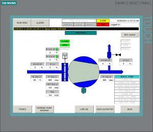 Zur Vor-Ort-Bedienung wurde ein Bedienpanel direkt am Verdichter vorgesehen. Hier sind Saug- und Druckseite des Verdichters dargestellt. Bild: Siemens Turbomachinery Equipment GmbH