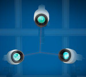 Mit drei auf einen Punkt fokussierten Sensoren lassen sich 3D-Messpunkte realisieren. Bild: Polytec