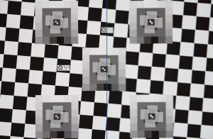 Aufnahme eines Testcharts mit und ohne Bildstabilisierung. Bild: Image Engineering