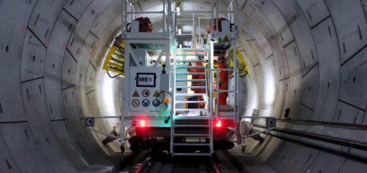 Bohrwagen für den Tunnelausbau beim Londoner Crossrail-Projekt. Bild: ATP Hydraulik