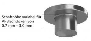 Die Verbindungselemente werden mit sechs verschiedenen Schaftlängen angeboten, um Blechpakete mit Gesamtdicken zwischen 0,7 und 3,0 mm zu verbinden. Bild: Arnold Umformtechnik