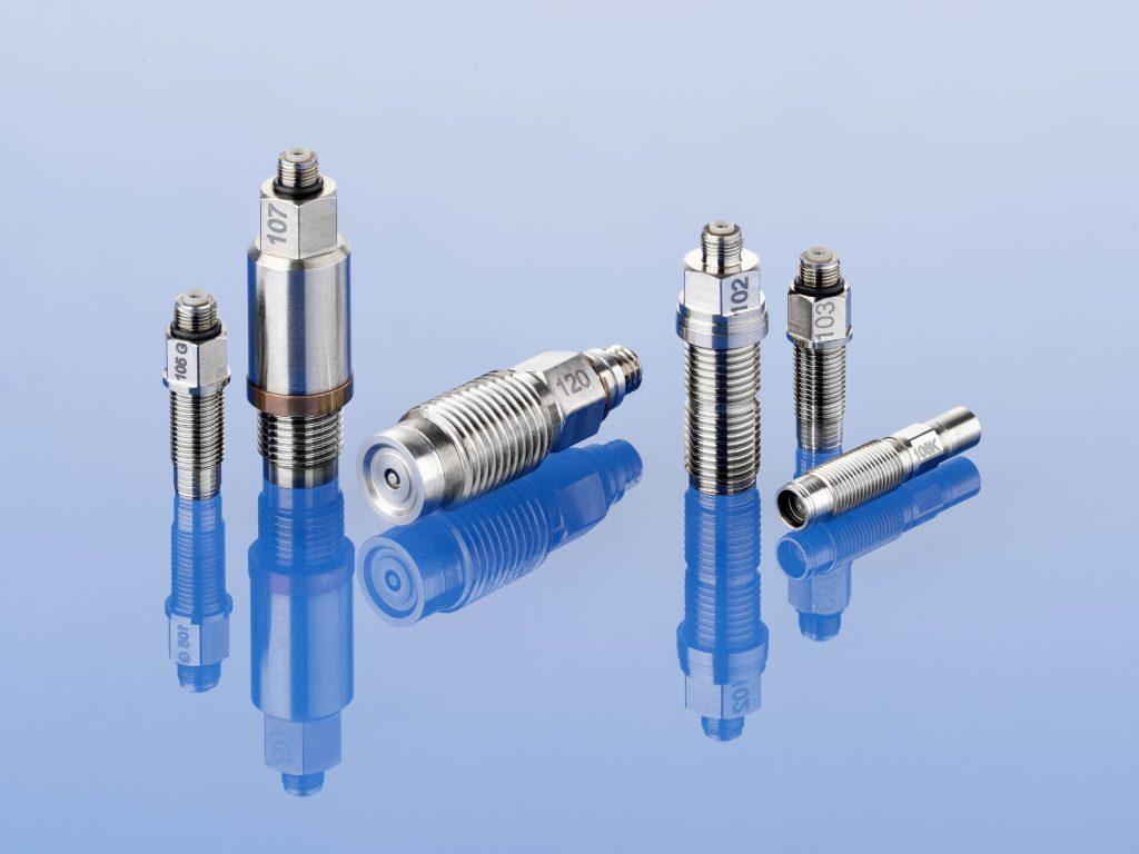 Die piezoelektrischen Drucksensoren eignen sich für dynamische Messungen bis in den Bereich von über 100 kHz, Druckbereiche bis 8.000 bar und ohne zusätzliche Kühlung für Temperaturen bis 400 oder je nach Ausführung sogar bis 700 °C. Bild: BD|SENSORS