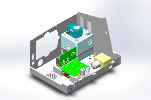 Der Gasmischer besteht aus einem kompakten Steuerblock aus eloxiertem Aluminium mit integrierter Misch- und Messmimik, aufgesetzter Steuer- und Regelelektronik, Ventilen, Schalldämpfer, Überdruckventil sowie Anschlussgewinden für den Luft- und den Sauerstoffeingang, den Ausgang des Gasgemisches und den Sauerstoffsensor. Bild: medin®