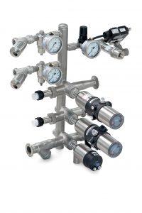 Individuelle Gasverteilerlösung aus vordefinierten Modulen und Komponenten. Bild: Bürkert