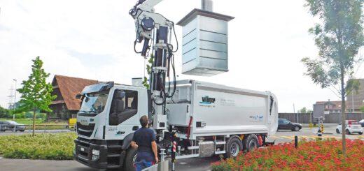 """Der """"Speed Lifter"""" ermöglicht ein automatisches und schonendes Handling der Abfallcontainer. Bild: Villiger"""