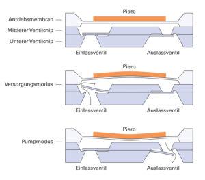 Treibende Kraft der Mikropumpe ist ein hochdynamisches Piezoelement in Scheibenform, das direkt auf einer Siliziumscheibe appliziert wird. Bild: PI