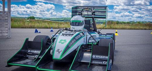 Der fahrerlose Rennwagen vom Green Team Stuttgart belegte beim Wettbewerb einen guten 4. Platz. Bild: Green Team Stuttgart
