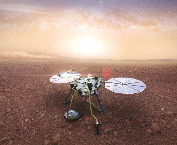 Gibt es auf dem Mars Erdbeben? Und wie sind seine inneren Schichten aufgebaut? Das Seismic Experiment for Interior Structure (SEIS) der Marssonde InSight sucht nach Antworten. Bild: Sodern Ariane Group 2018